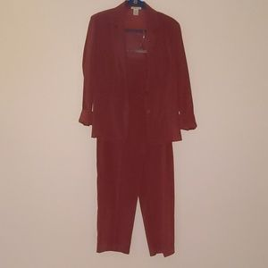Burnt orange burgundy suit outfit